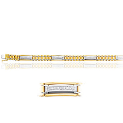 Cubic Zircon accented Men's Bracelet in 14K Two Tone Gold