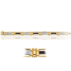 Cubic Zircon accented Mens Onyx Bracelet in 14K Two Tone Gold