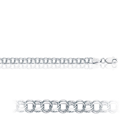 9.00 Grams Double Link Charm Bracelet in 14K White Gold