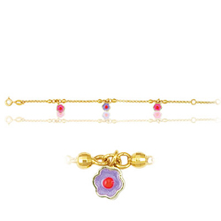 Princess Childrens Flower Bracelet in 14K Yellow Gold