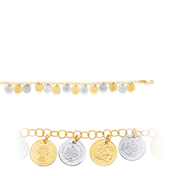 Womens Fancy Coin Bracelet in 14K Two Tone Gold