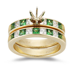 0.40 Cts Diamond & 0.40 Cts Emerald Matching Set in 14K White Gold