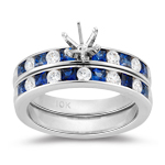 0.36 Ct Diamond & 1.08 Ct Blue Sapphire Matching Set in 14K White Gold