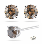 0.52 Cts Brown Diamond Stud Earrings in 14K White Gold