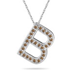 0.27 Cts Brown Diamond B Initial Pendant in 14K White Gold