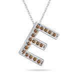 0.30 Cts Brown Diamond E Initial Pendant in 14K White Gold
