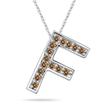 0.30 Cts Brown Diamond F Initial Pendant in 14K White Gold