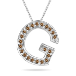 0.27 Cts Brown Diamond G Initial Pendant in 14K White Gold