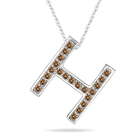 0.26 Cts Brown Diamond H Initial Pendant in 14K White Gold