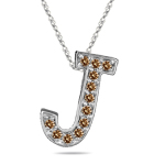 0.24 Cts Brown Diamond J Initial Pendant in 14K White Gold