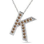 1/4 Cts Brown Diamond K Initial Pendant in 14K White Gold