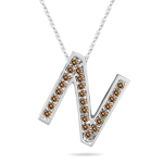 0.24 Cts Brown Diamond N Initial Pendant in 14K White Gold