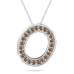 0.28 Cts Brown Diamond O Initial Pendant in 14K White Gold
