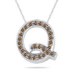 0.26 Cts Brown Diamond Q Initial Pendant in 14K White Gold