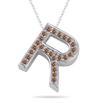 0.29 Cts Brown Diamond R Initial Pendant in 14K White Gold