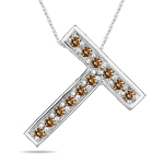 0.24 Cts Brown Diamond T Initial Pendant in 14K White Gold