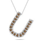 1/4 Cts Brown Diamond U Initial Pendant in 14K White Gold