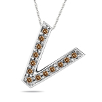 0.26 Cts Brown Diamond V Initial Pendant in 14K White Gold