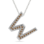 1/4 Cts Brown Diamond W Initial Pendant in 14K White Gold