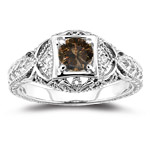 0.55 Ct Brown & White Diamond Filigree Ring in 14K White Gold