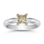 0.60 Cts Brown Diamond Solitaire Ring in 14K White Gold
