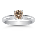 0.56 Cts Brown Diamond Solitaire Ring in 14K White Gold