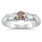 0.56 Cts Brown & White Diamond Ring in 14K White Gold