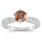 1.51 Cts Brown & White Diamond Ring in 14K White Gold