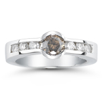 0.65 Cts Brown & White Diamond Ring in 14K White Gold