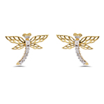 0.30 Cts Diamond Butterfly Earrings in 14K Yellow Gold