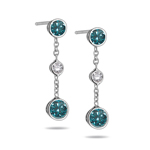 Triple Bezel SI1 Diamond & Teal Blue Diamond Earrings in 18K White Gold