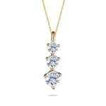 Anniversary Gift - 1/2 Cts Three-Stone VS Diamond Yellow Gold Pendant