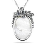 0.22 Cts Marcasite Cameo Filigree Pendant in Silver