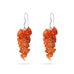 10.00+ Cts Carnelian Hand Made Earrings in Silver
