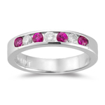 1/5 Cts Diamond & 0.30 Cts Ruby Stackable Band in 14K White Gold