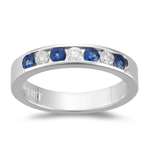 0.70 Ct Diamond & Blue Sapphire Stackable Band in 14K White Gold