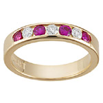 1/5 Cts Diamond & 0.30 Cts Ruby Stackable Band in 14K Yellow Gold