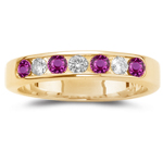 0.70 Ct Diamond & AA Round Pink Sapphire Stackable Band in 14KY Gold