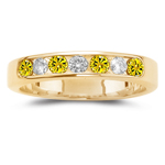 0.20 Cts Diamond & 0.30 Cts Yellow Diamond Stackable Band in 14K Yellow Gold
