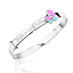 0.01 Cts  SI2 - I1 clarity and I-J color Diamond Hush-A-Bye Childrens Bangle in Silver