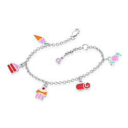 0.01 Cts  SI2 - I1 clarity and I-J color Diamond Multi Charm Childrens Bracelet in Silver
