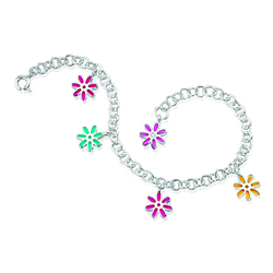 0.01 Cts  SI2 - I1 clarity and I-J color Diamond Resin Flower Childrens Bracelet in Sterling Silver