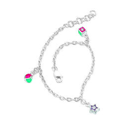 0.01-0.03 Cts  SI2 - I1 clarity and I-J color Diamond Multi Charm Childrens Bracelet in Silver