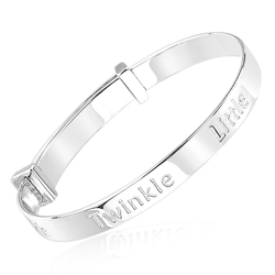 0.01 Cts  SI2 - I1 clarity and I-J color Diamond TWINKLE TWINKLE Bangle in Silver