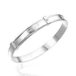 0.01 Cts  SI2 - I1 clarity and I-J color Diamond Angel Baby Bangle in Silver - Christnas Sale