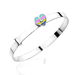 0.01 Cts  SI2 - I1 clarity and I-J color Diamond Enamel Heart Childrens Bangle in 14K White Gold - Christmas Sale