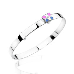0.01 Cts  SI2 - I1 clarity and I-J color Diamond Butterfly Enamel Childrens Bangle in 14K White Gold