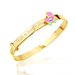 0.01 Cts  SI2 - I1 clarity and I-J color Diamond Hush-A-Bye Childrens Bangle in 14K Yellow Gold