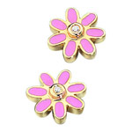 0.02 Cts Flower Resin Childrens Earrings in 14K Gold
