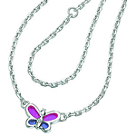 0.01 Cts  SI2 - I1 clarity and I-J color Diamond Resin Butterfly Childrens Necklace in Sterling Silver